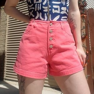 VTG 90s Coral Button Fly Denim Shorts